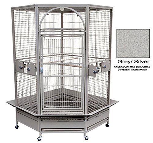 King's Cages GC 14022 CORNER PARROT CAGE bird toys African Grey Macaw Cockatoo (Grey/Silver) (Bird Corner)