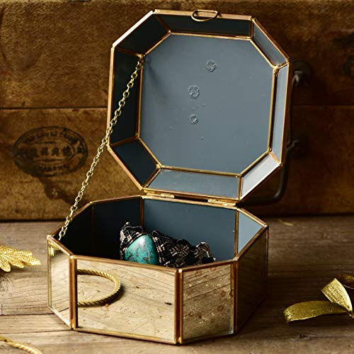 Cyl Home Decor Jewelry Boxes Translucent Mirrored Glass with Distressed Gold Speckles Brass Frames Trinket Holder Keepsake Storage Organizer Gift Cases Display Centerpiece, 3'' H x 5.3'' L x 5.3'' ()