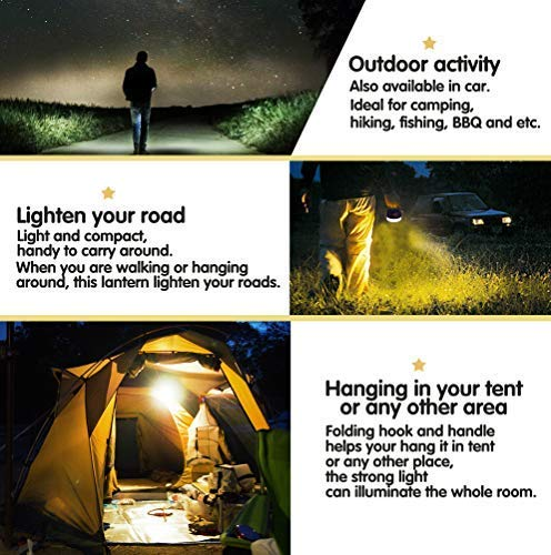FOGEEK Upgrade Version Portable Camping Lantern, Mini Rechargeable Tent Light, Warm Light White Light,Emergency Light, 5200mAh Power Bank,Water Resistant,Fireproof, Magnet Base, 6 Light Modes