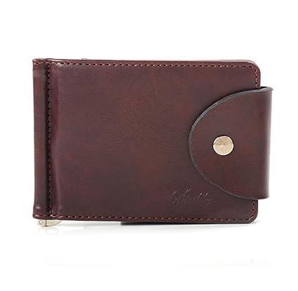 Ularma 2016 Moda Ultra delgada dinero Clip delgado carteras ID tarjeta de crédito titular monedero de cuero de (marrón)