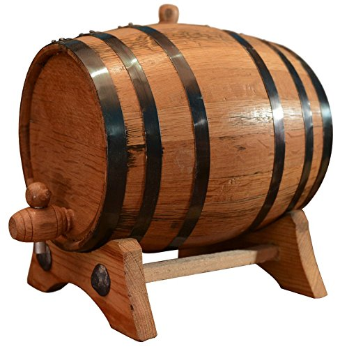 10-Liter American Oak Barrel | Handcrafted using American White Oak | Age your own Whiskey, Beer, Wine, Bourbon, Tequila, Hot Sauce & More (10 Liter or 2.65 Gallons, Black (Steel Hoops))