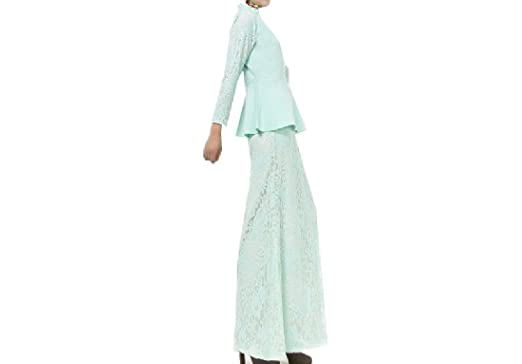 Abetteric Women Dress Baggy Malaysia Muslim Lace Dress Suit Hollow