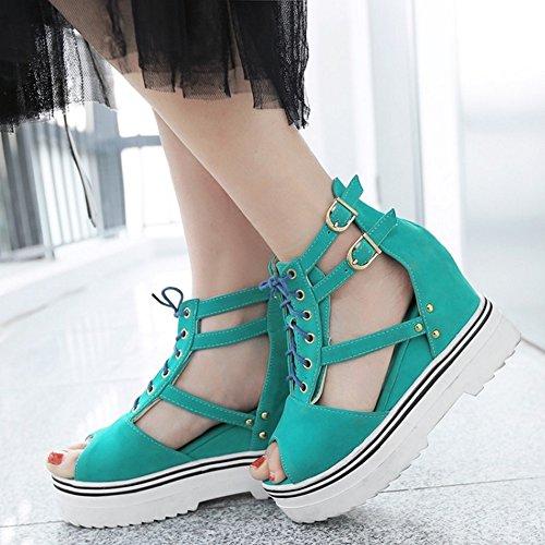 COOLCEPT Mujer Moda Cordones Sandalias Punta Abierta Correa de Tobillo Zapatos Azul