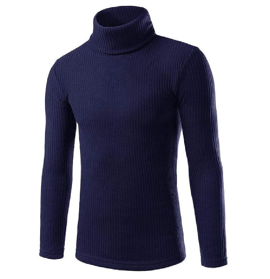 cheelot Men Slim Fit Long Sleeve Thermal Turtleneck Pullover Sweater
