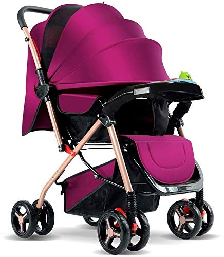 Baby Stroller, Multi-Purpose Folding Portable, Newborn Baby Four-Wheeled Cart ,for 0-3 Years Old yangmi (Color : Purple)