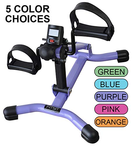 Platinum Fitness Fit Sit Deluxe Folding Pedal Exerciser Leg Machine with Electronic Display and Free Anchor Strap (Purple)