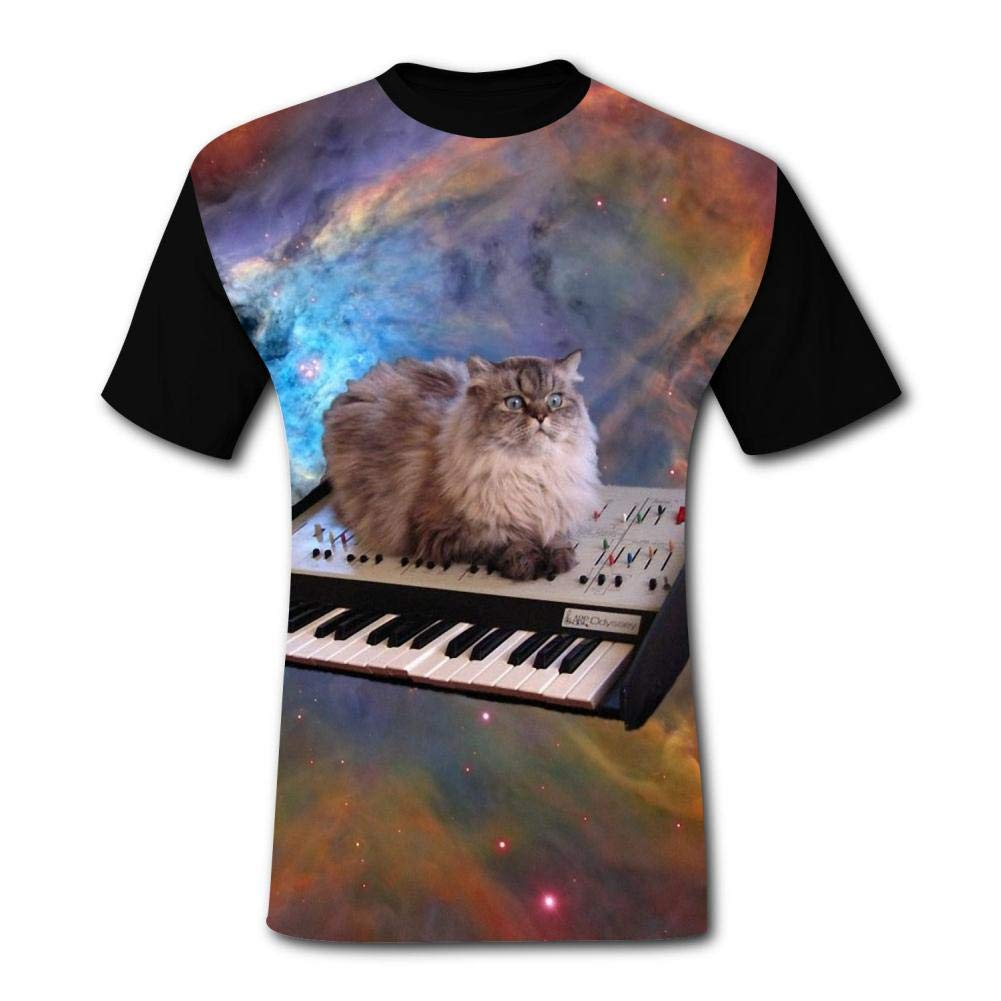 dsfsffety Individual Space Cat Tshirt Printed Funny Tee Shirt Colorful Skull T-Shirt for Men//Women
