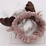 UNAKIM--Gift Cute Deer Horn Soft Towel Hair Band Wrap Headband For Make Up Bath Spa -S