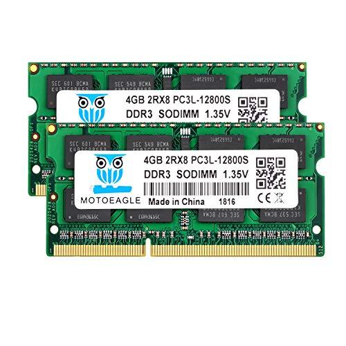 4GB DDR3 Ram DDR3L-1600 SODIMM PC3L-12800S, 2x4GB Motoeagle Dual Rank 1.35V 204-pin 2Rx8 DDR3L SODIMM 1600mhz for Laptop