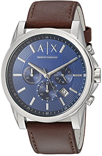 Armani Exchange Men's AX2501 Brown  Leather Watch (Armani Leather Men Watch)