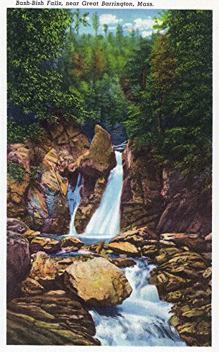 Berkshire Mountains, MA - View of Bash-Bish Falls near Great Barrington (24x36 SIGNED Print Master Giclee Print w/Certificate of Authenticity - Wall Decor Travel Poster)