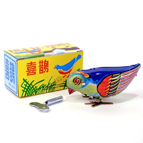 Vintage Wind-Up Bird Pecking Tin Mechanical Toy ()