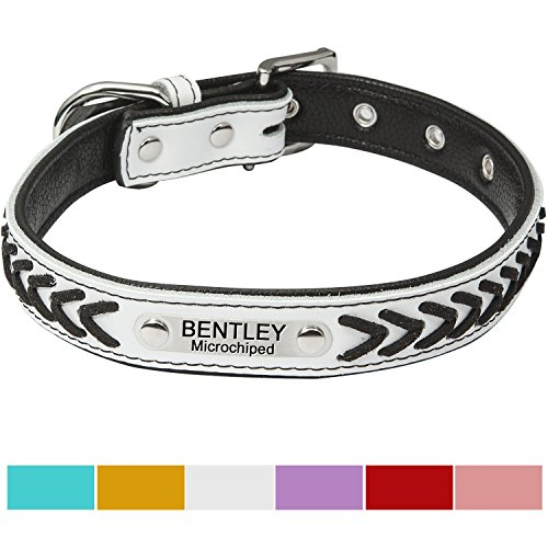 Vcalabashor Custom Leather Dog Collar/Braided Genuine Leather Name Plated Dog Collars for Small Medium Large/Personalized Engraved On Collar Pet ID Tags/White & Black/XS S M L ()