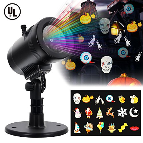 LED Projector Light - Diateklity New Design House Garden Lighting Show with 14 Festive Lights Designs for Halloween, Christmas, Waterproof & Heavy-Duty