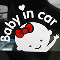 CherriGumi Distinctive 2 Pcs Baby in Car Waving Baby On Board Safety Sign Cute Car Decal Waterproof Vinyl Sticker for Window Bumper Panel (None A)
