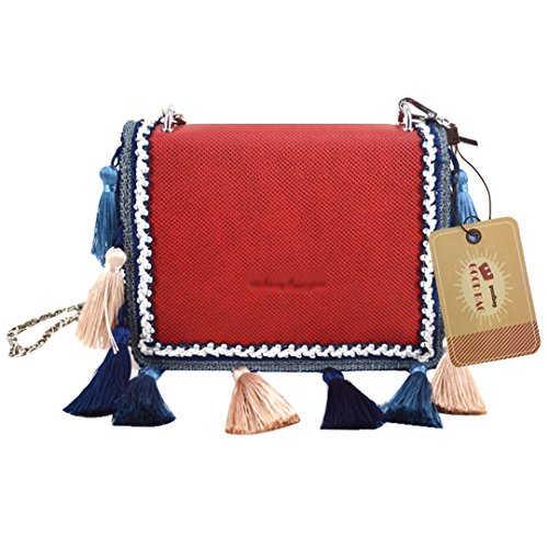 Goodbag Boutique Women Tassel Faux Leather Tote Handbag Girl Ethnic Fashion Shoulder Bag Chain Crossbody Purse Red