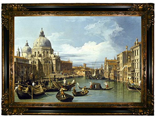 - Historic Art Gallery c1016-canaletto0003-19x28-cmfr238gb98 HistoricArtGallery-The Entrance to The Grand Canal, Venice 1730 by Canaletto Framed Canvas Print-Gold & Black Gallery-19x28, 19