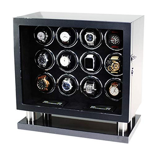 - 12 Watch Winder for Automatic Watches with LED Backlight and LCD Touchscreen Control (Carbon + Black)