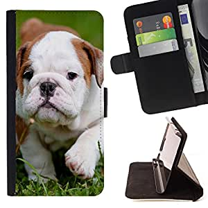 Super Marley Shop - Leather Foilo Wallet Cover Case with Magnetic Closure FOR Sony Xperia Z1 C6902 C6903 C6906- Bulldog Bull Dog Pet Puppy