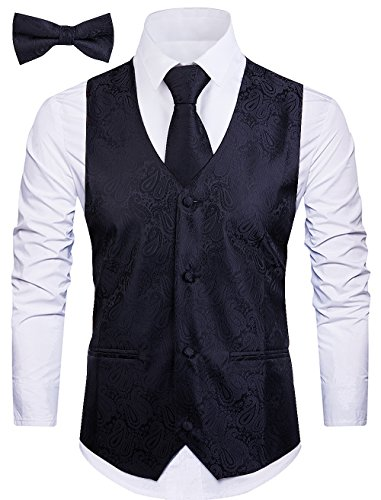 Cyparissus 3pc Paisley Vest for Men with Neck Tie and Bow Tie Set for Suit or Tuxedo (L, Black)
