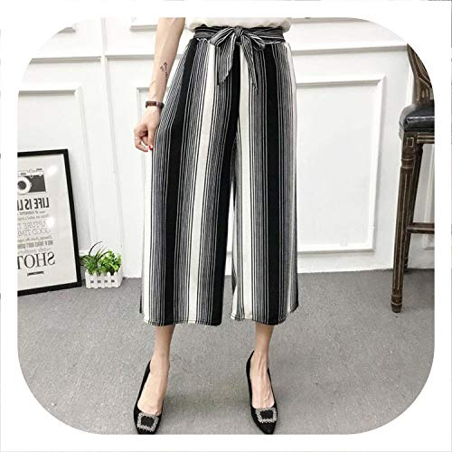colorful-space Women New Summer Wide Leg Pants Casual Loose High Elastic Waist Pants Loose Belt Striped Elasticated Trousers,C,One Size