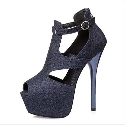 Toe negro mujer vestido oro plata Hebilla de el de cuero púrpura Heel de para Peep sintético Spring Summer Stiletto Comfort azul Heels Blue Zapatos H7wqFxAA