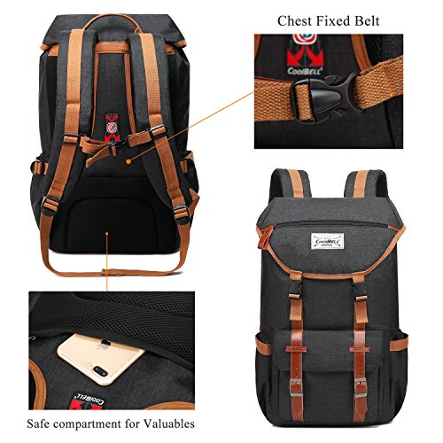 Travel Backpack CoolBELL 17.3 Inches Laptop Backpack Leisure Outdoor Rucksack Hiking Knapsack School Daypack Multi-functional Business Bag For School/College/Men/Women (38L, Black) by CoolBELL (Image #5)