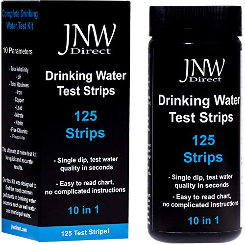 (JNW Direct Drinking Water Test Strips 10 in 1, Best Kit for Accurate Water Quality Testing at Home, 125 Strips MEGA Pack, Easy to Read & Instant Results)