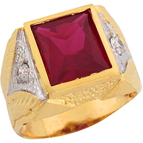 14k Real Two Tone Gold Rectangle Cut Simulated Ruby Great Mens (Rectangle Two Tone Ring)