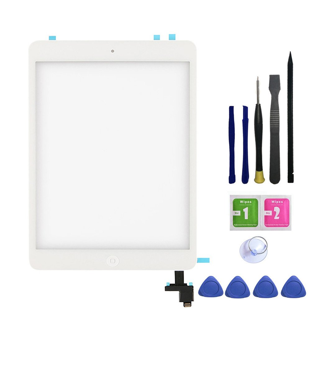 FeiyueTech iPad Mini & Mini 2 Touch Screen Digitizer Replacement Complete Assembly with IC Chip & Home Buttono & PreInstalled Adhesive and opening tool kit.(white)