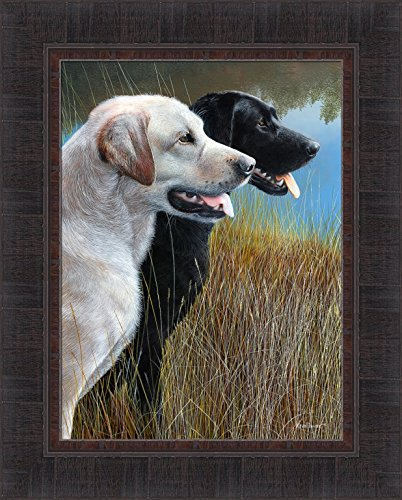 Hunting Companions by Kevin Daniel 17x21 Dogs Labrador Retriever Black Yellow Labs Framed Art Wall Décor ()