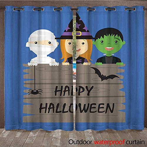 RenteriaDecor Outdoor Curtains for Patio Sheer Halloween Costume Party with Kids W72 x -
