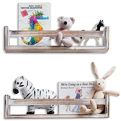 MAINEVENT Set of 2 Rustic Wood Floating Nursery Shelves - Wall Shelves for Farmhouse Bathroom Decor, Kitchen Spice Rack, or Book Shelf Organizer for Baby Nursery Decor]()