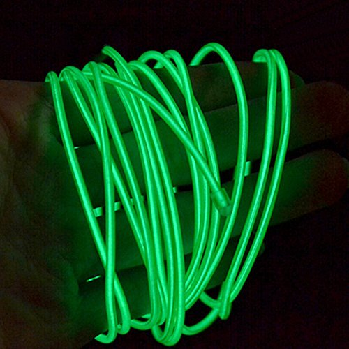 YCDC 4X Dark Green Flexible EL Wire Lights Glow +3V Controller Dance Party Decor by YCDC (Image #4)