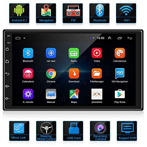 🥇 ANKEWAY 2 DIN Android 9.1 Radio del Coche Navegación GPS 7 Pulgadas 1080P HD Pantalla Táctil WiFi/Bluetooth Autoradio Manos Libres 1G/16G Multimedia Car Stereo+Internet WiFi+Cámara de Visión Trasera