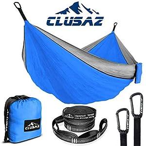 CLUSAZ Hamaca Ultraligera para Camping | 2 Personas (300 x 200 cm) en Nylon Diamante | Incluye 2 Correas de suspensión de 2.5m y 10 Hebillas de fijación | Garantizado 10 años (2 Pers, Azul & Gris)