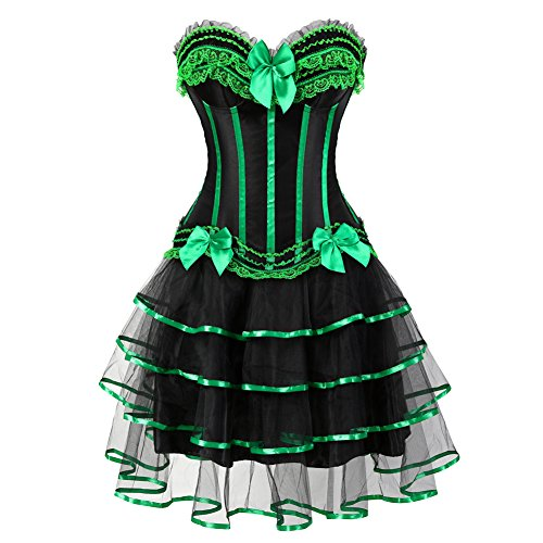 Frawirshau Gothic Halloween Lace up Corset Moulin Rouge Showgirl Clubwear Dress Black Green 2XL (Corset Dress)