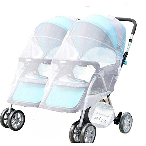 Mosquito Net, V-FYee Large Size Bug Net for Baby Twin Double Strollers Infant Carriers Car Seats Cradles, White (Carrier Netting Infant)