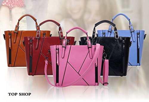OL Shoulder Handbag a Leather Womens Wine Satchel FTSUCQ Tote Red casual tracolla Hobos Borsa pqwREx
