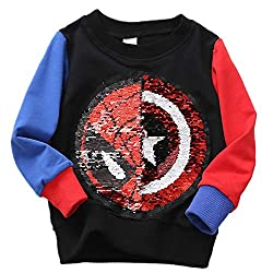 Boys Flip Sequins Long Sleeve Cotton Sweatshirts