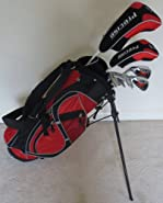 Left Handed Junior Golf Club Set Complete With Stand Bag for Kids Ages 5-8 LH Red Color Premium Jr.
