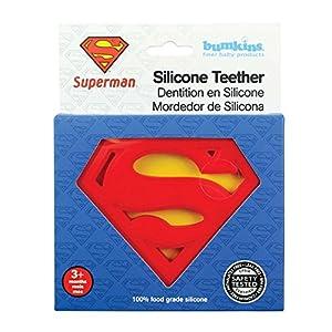 Bumkins Silicone Teether, DC Comics Textured, Soft, Flexible, Bacteria Resistant – Superman