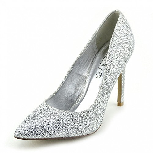 Kick Footwear - WOMENS LADIES MID STILETTO POINTED TOE HIGH HEELS PARTY PUMPS COURT SHOES SIZE Silver - Po0440 fbU5qcRll