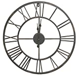Cheap Round Decorative Metal Distressed Iron Roman Numeral Clock Quartz Movement 16 x 16 x 1 Inches…0111