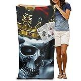 OIE King Skull Crown Poker Velour Beach Towel 31.5 X 51.2 Inches