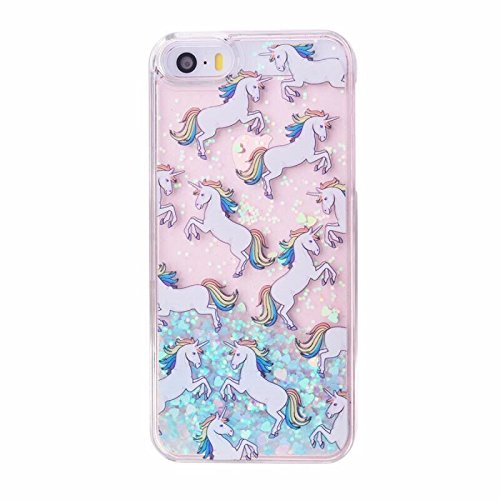 Bling Case Plastic Hard (iPhone 6/6S Case,Blingy's New Cool Flowing Liquid Glitter Style Plastic Hard Case for Apple iPhone 6/6S (Rainbow Horse))