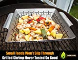 Fish Grilling Basket (lg) + Vegetable Grill Holder - DISHWASHER SAFE STAINLESS STEEL - Large Non Stick BBQ Grid Pan For Veggies Meat Shrimp & Fruit - Best Barbecue Wok Topper Accessories Gift for Dad
