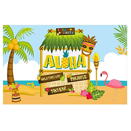 Large Fabric Aloha Party Banner 72''x46'' for Luau Party Supplies, Perfect Decorations for Hawaii Luau Party, Tiki Themed Birthday Party and Summer Party -