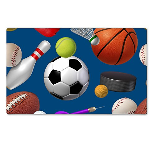 Liili natural rubber Large Table Mat IMAGE ID: 18547382 Sports seamless pattern with a dark blue background as a repeat repetition wallpaper design with football basketball hockey golf