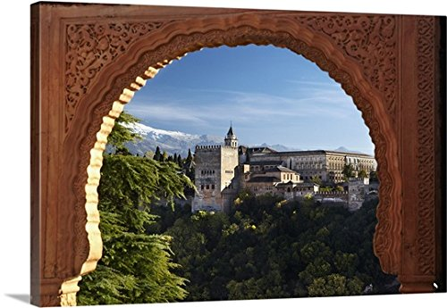 Richard Taylor Premium Thick-Wrap Canvas Wall Art Print entitled Spain, Andalusia, Granada, View of Alhambra Palace from Albayzin by Canvas on Demand